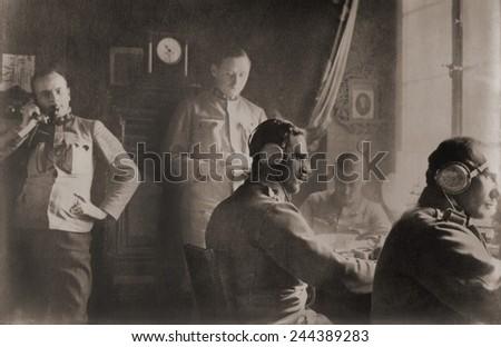 Austrian field telegraph station in Poland during World War I. Ca. 1915. - stock photo