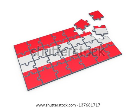 Austrian Flag made of puzzles.Isolated on white.3d rendered. - stock photo