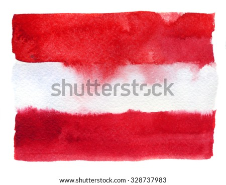 Austrian flag painted with watercolors on white background - stock photo