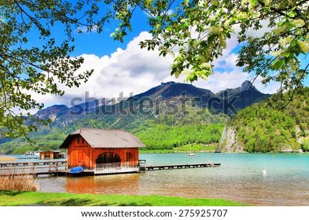 Austrian scenery - lake st Wolfgang - stock photo