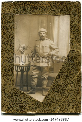 AUSTRO-HUNGARIAN EMPIRE - CIRCA 1914-1918: Antique photo shows  Studio portrait of a soldier in the field uniform the First World War, 1914-1918, Austria-Hungary - stock photo