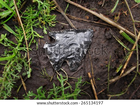 authentic arrowhead lying on ground in forest - stock photo