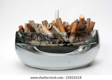 Authentic glass ashtray - stock photo