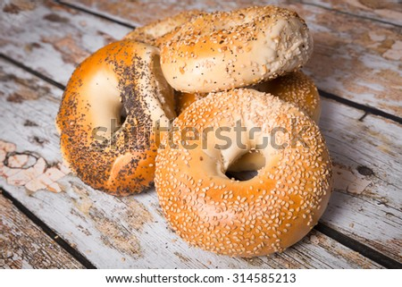 Authentic New York Style bagels - stock photo