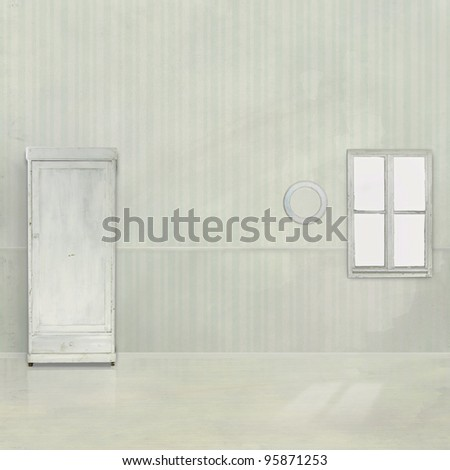 authentic old interior, light wallpaper on the wall, the texture - stock photo