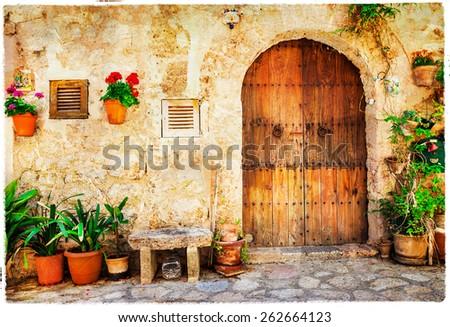 authentic old streets in Valdemossa village, Mallorca - stock photo