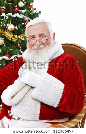 authentic Santa Claus with great smile, isolated on white background - stock photo