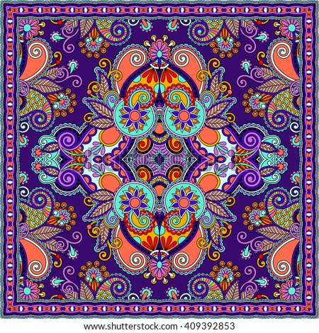 authentic silk neck scarf or kerchief square pattern design in ukrainian style for print on fabric, raster version illustration - stock photo
