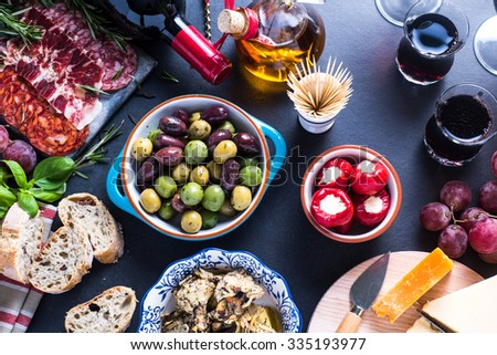 authentic spanish tapas set up in restaurant or bar - stock photo