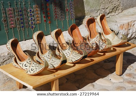 Authentic Turkish woman's shoes in Bosnia and Herzegovina - stock photo