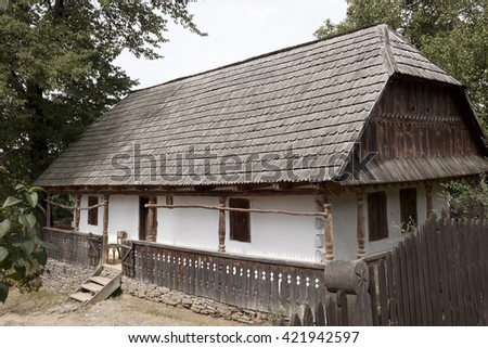 Authentic Ukrainian house countryside. Rural summer - stock photo