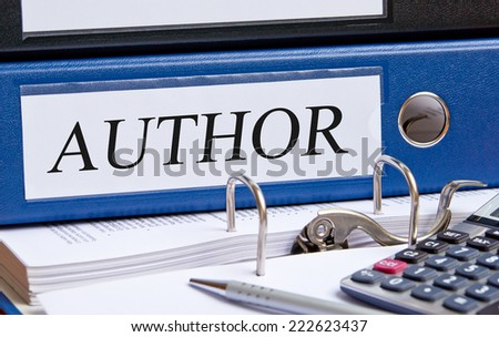 Author - blue binder in the office - stock photo