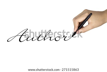 author word written by human hand over white  - stock photo