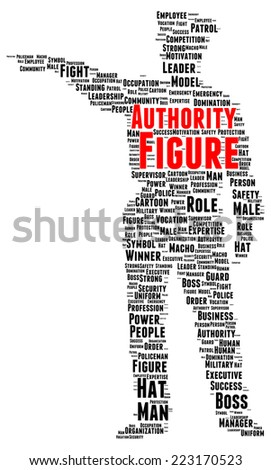 Authority figure word cloud shape concept - stock photo