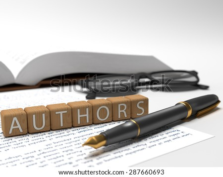 Authors - dices containing the word authors, a book, glasses and a fountain pen. - stock photo