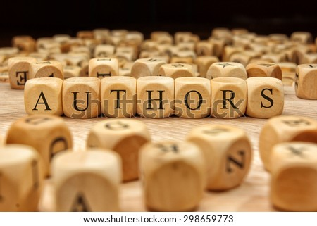 AUTHORS word written on wood block - stock photo