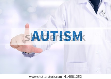 AUTISM CONCEPT Medicine doctor working with computer interface as medical - stock photo