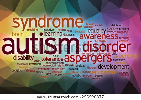 Autism word cloud concept with abstract background - stock photo