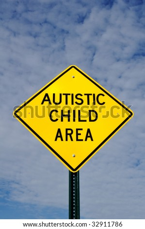 Autistic Child Area Sign, Sky, Clouds, Copy Space - stock photo