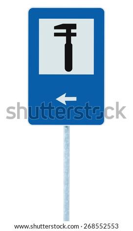 Auto Car Repair Shop Icon, Vehicle Mechanic Fix Service Garage Road Traffic Sign Roadside Pole Post Signage, Isolated, Black Arrow Pointer Left - stock photo