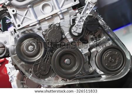 Auto engine of close-up - stock photo