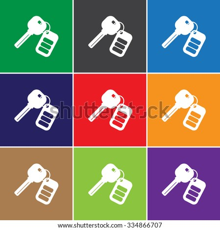 Auto keys with remote sign icon, illustration. Flat design style for web and mobile. - stock photo