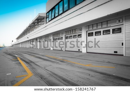 auto-motor racetrack pit stop - stock photo