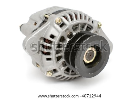 auto part, electric generator for diesel engine against white background with clipping path - stock photo