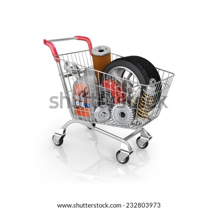 Auto parts in the trolley. Auto parts store. Automotive basket shop - stock photo