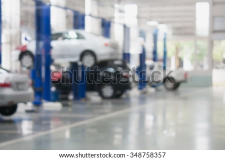 auto repair service station blurred background - stock photo