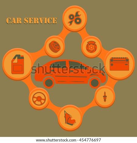 Auto service infographics with auto car repair and diagnostics symbols. Modern concept. Rasterized version - stock photo