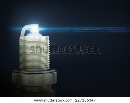 Auto service. Old rusty spark plug as spare part of car transportation  - stock photo