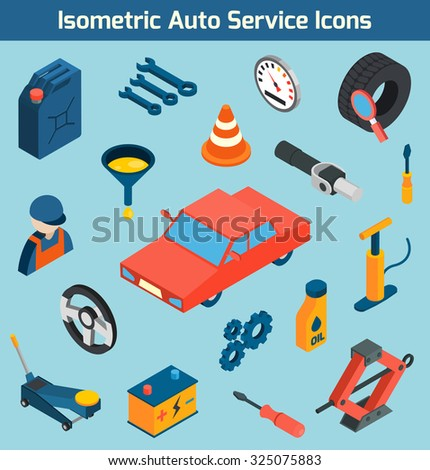 Auto service tools consumables and spare parts isometric icons set isolated  illustration - stock photo