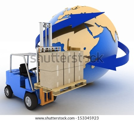 autoloader with boxes on a background a globe. Conception of rapid delivery of loads. 3d illustration. - stock photo