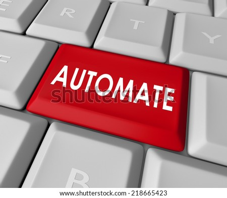 Automate word on a red computer keyboard button or key to improve a process and make work more efficient and productive - stock photo