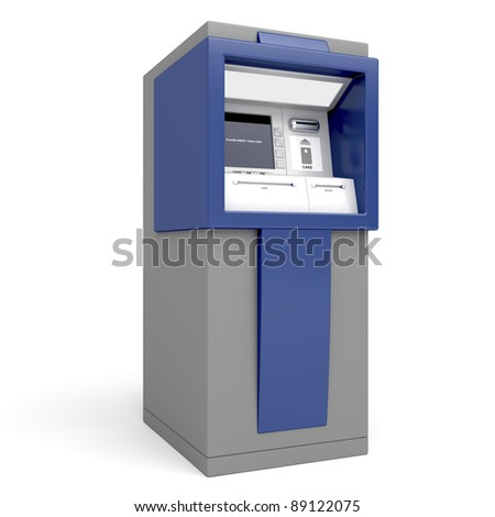 Automated teller machine on white background - stock photo