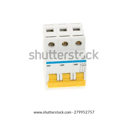 Automatic circuit breaker. Isolated on a white background. - stock photo