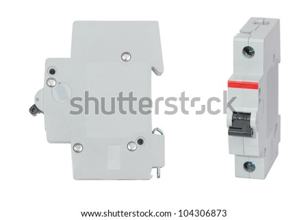 Automatic circuit breaker isolated on white background, set - stock photo