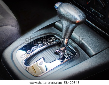 Automatic gear shift, close up, car interior - stock photo
