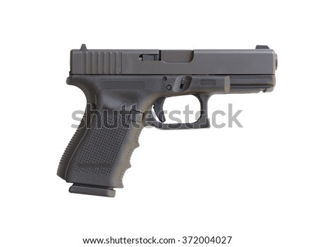 Automatic 9mm handgun pistol isolated on a white background - stock photo