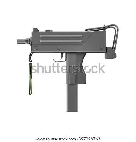 Automatic 9mm Machine Gun isolated on white background. Military Weapons Concept. 3D Rendering - stock photo