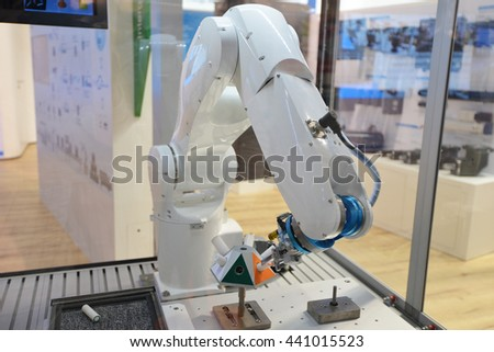 Automatic robotic arm for  jobs in production - stock photo