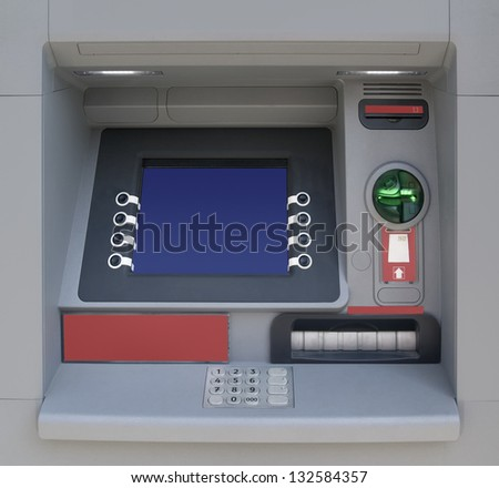 Automatic Teller Machine with Blank Screen - stock photo
