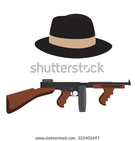 Automatic weapon tommy gun and brown, classic fedora hat.Thompson submachine gun raster isolated. - stock photo