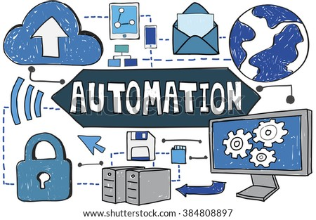 Automation Manufacture Machinery Process Technology Concept - stock photo