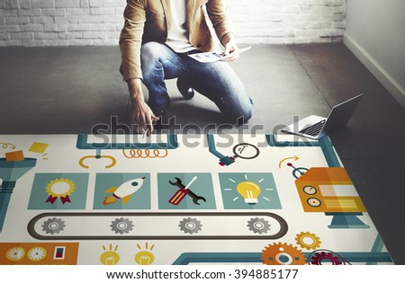 Automation Processing Industry Machinery Concept - stock photo