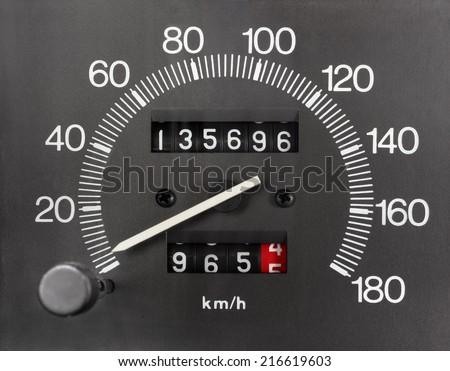 Automobile Analogue Speedometer and Odometer - stock photo