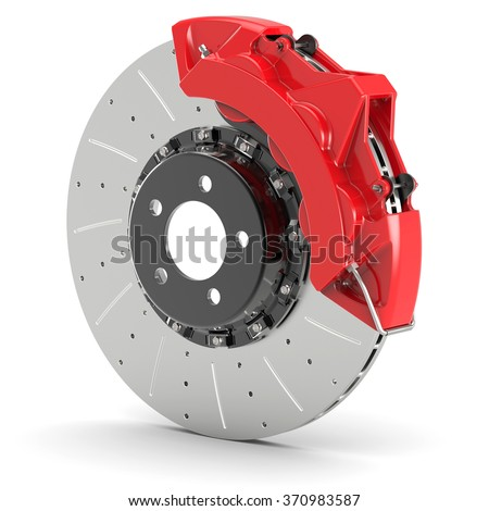 Automobile braking system. Steel brake disk with perforation and red calipers and pads. Isolated on white background 3d. - stock photo