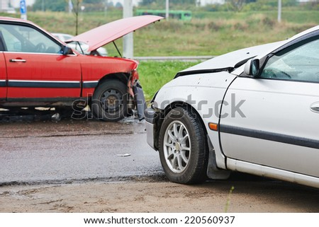 automobile car crash accident on an city road - stock photo