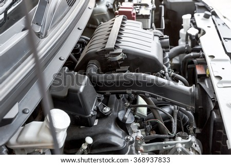 automobile engine, detail of a car engine - stock photo